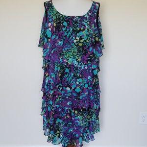 S.L Fashions print tiered dress size 24w